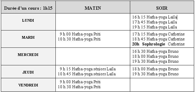 Planning hebdo yoga 2021-2022